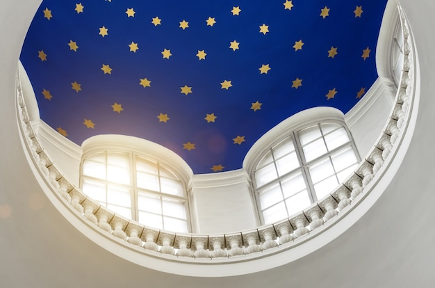 The dome from the inside with the stars, the light through the windows.