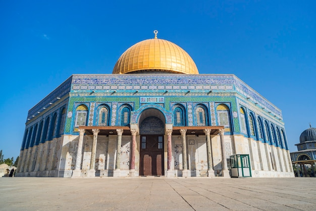 Dome of rock or qubbatus sakhra in masjidil aqsa compound is one of the sacred building for the jews and muslim in israel. no people.