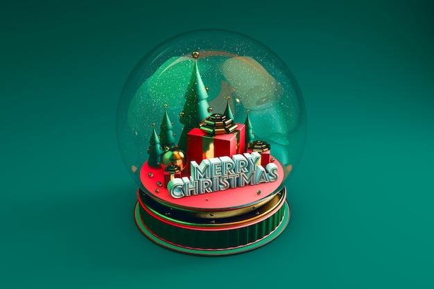Dome with christmas representation with green