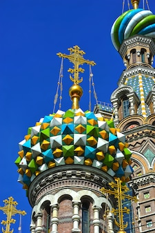 Domes of orthodox church of the savior on blood in st. petersburg