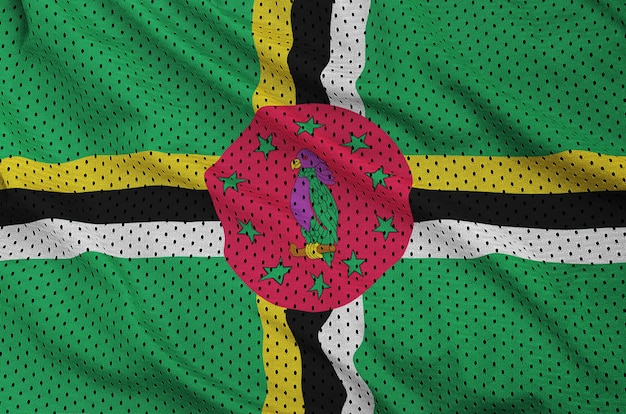 Dominica flag printed on a polyester nylon sportswear mesh fabric