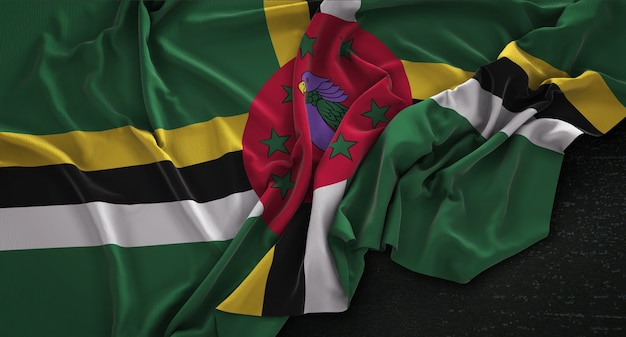 Dominica flag wrinkled on dark background 3d render