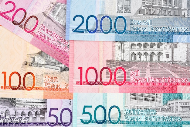 Dominican money - peso a business surface