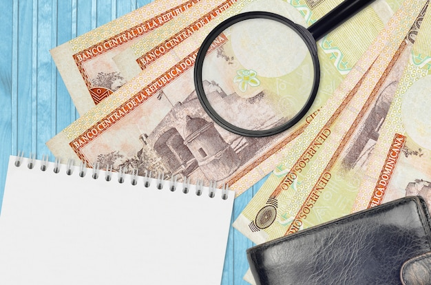 Dominican peso bills and magnifying glass with black purse and notepad