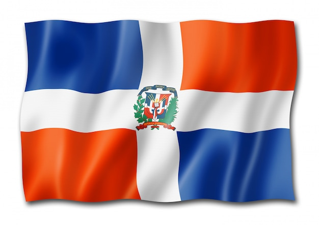 Dominican republic flag isolated on white