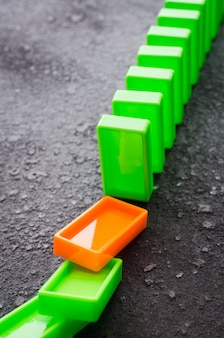 Domino effect. the concept of a weak link.