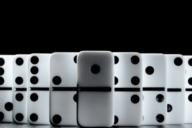 Domino pieces put in a row