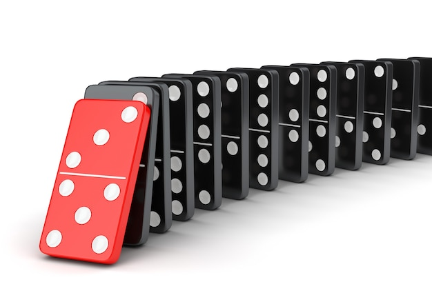 Domino tiles effect. raw of falling dominoes isolated on white background.