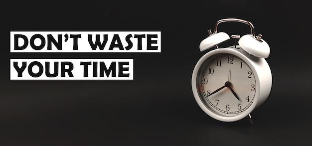 黒の孤立した背景、バナー写真にヴィンテージ目覚まし時計で時間の概念テキストを無駄にしないでください