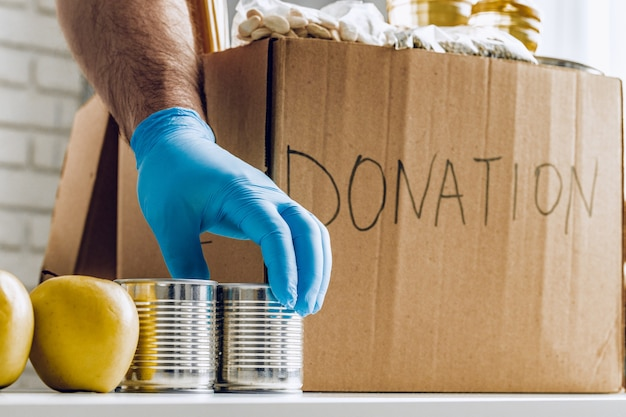 Donation box of food for people suffering from coronavirus pandemia consequences
