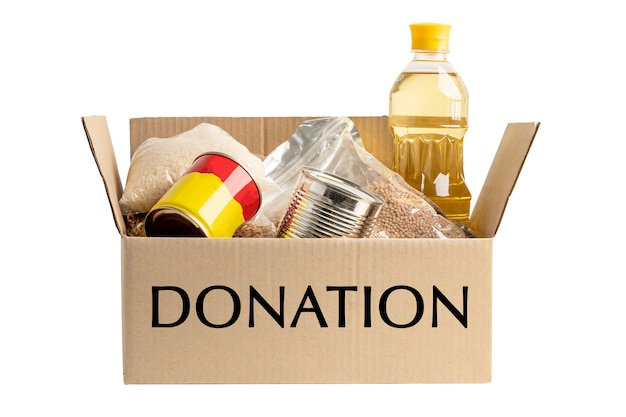 白い背景で隔離の世界の貧しい人々のための募金箱の食糧支援支援