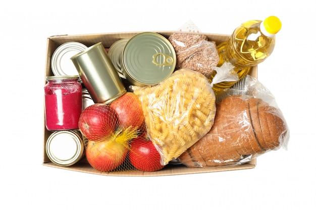 Коробка пожертвования изолированная на пустом пространстве. бумажная коробка с едой