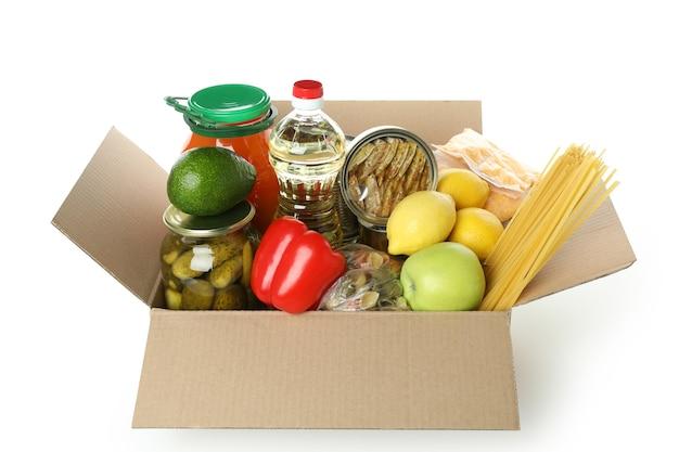 白い背景で隔離の食品と募金箱