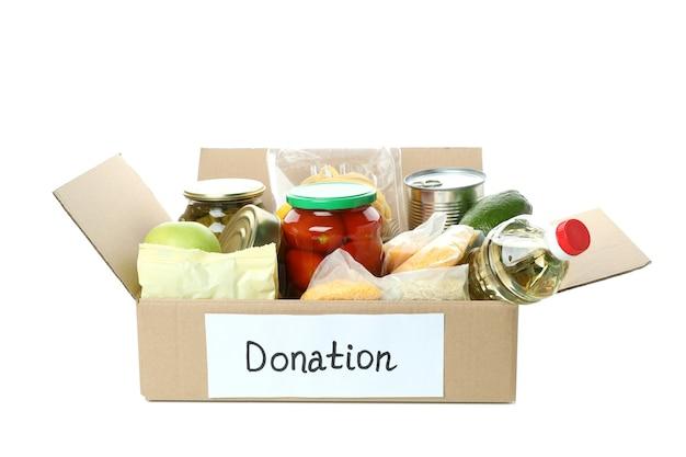 Ящик для пожертвований с едой, изолированные на белом фоне