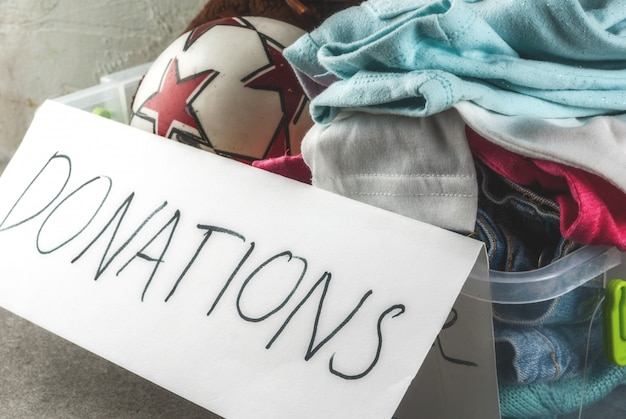 Donation box with toys, clothes and food