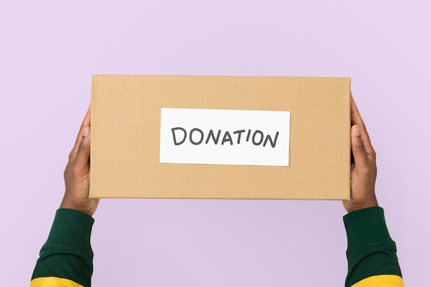Donation cardboard box for charity campaign