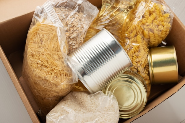 Donation for job loss people a set of products in a box  pasta butter oatmeal cereals
