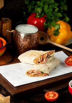 Doner in lavash with whipped ayran