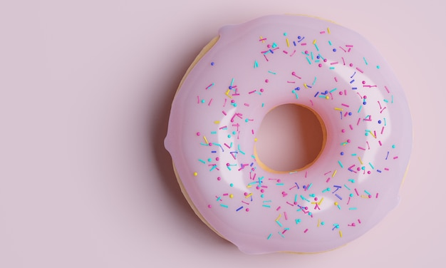Donut banner with icing on pink background, 3d render ,top view