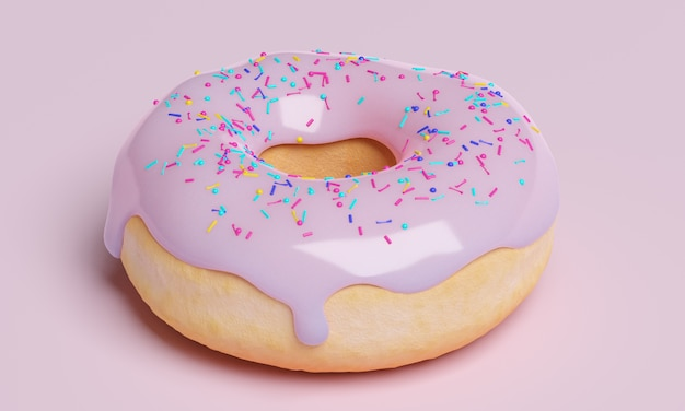 Donut banner with icing on pink background, 3d render