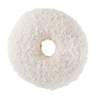 Donut in white frosting and coconut flakes