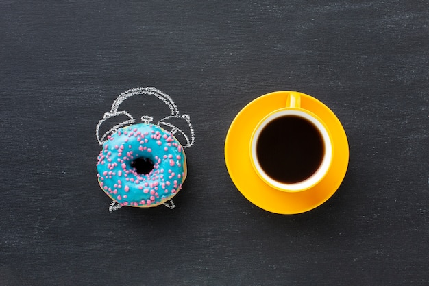 Donut with alarm clock concept