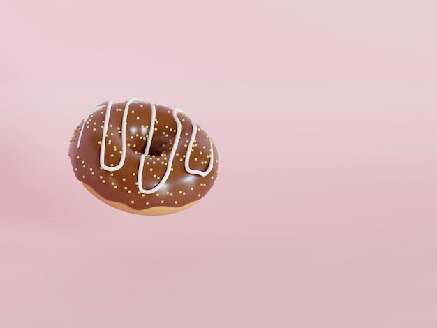 분홍색 배경 3d 렌더링에 격리된 다채로운 스프링클이 있는 도넛