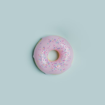Donut with glaze on a blue background, 3d render