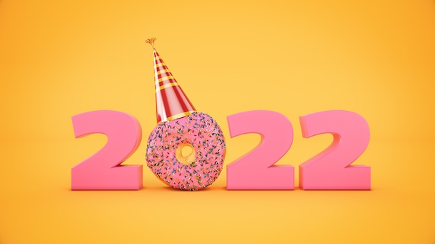 파티 모자 개념 도넛 2022 새 해 기호 3d 렌더링