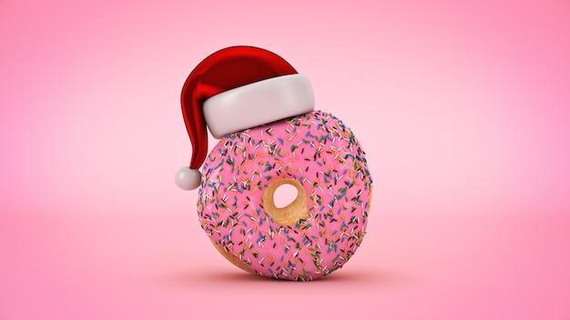 산타 모자와 도넛 크리스마스 개념 3d 렌더링