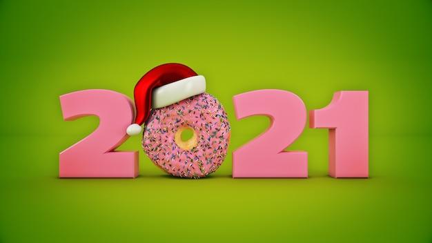 산타 모자 개념 도넛 2021 새 해 기호 3d 렌더링