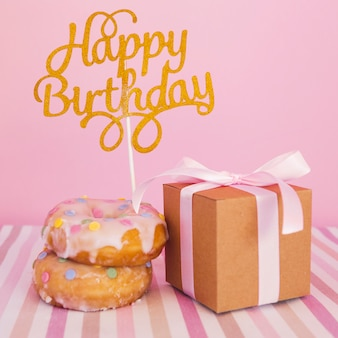 Donut with topper and present