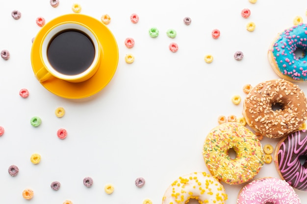 Donuts and coffee overhead view