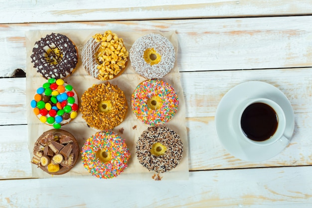 Donuts and coffee, top view