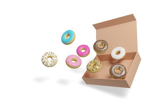 Пончики, выходящие из коробки, изолированные на белом.