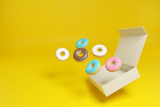 Пончики, выходящие из коробки на желтом фоне.