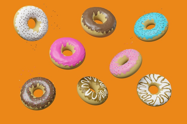 Пончики, плавающие в воздухе, изолированные на оранжевой стене. 3d иллюстрации.