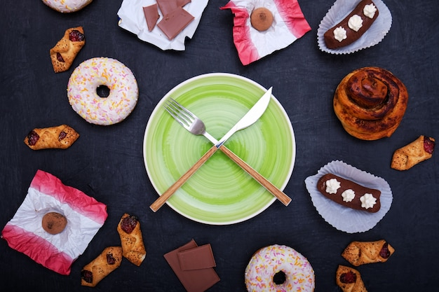 Donuts, sweets and chocolate