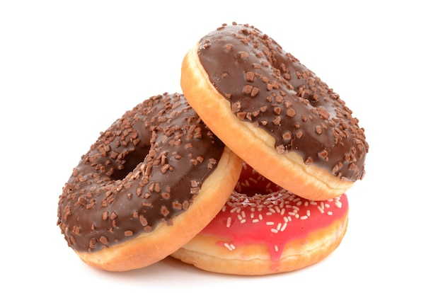Donuts on a white