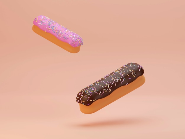 Пончики с брызгами, пролетающие на фоне 3d-рендеринга