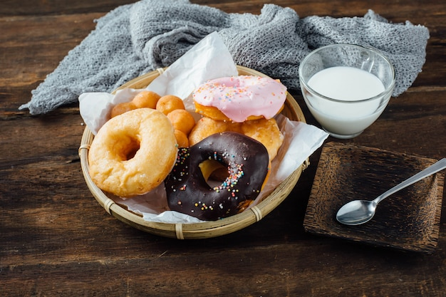Donuts on wooden table