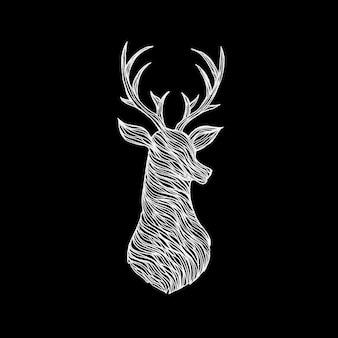 黒の上に鹿を落書き。自由奔放に生きるスタイルのtシャツデザインのラスターイラスト。タトゥー手描きスケッチ。枝角を持つトナカイ。