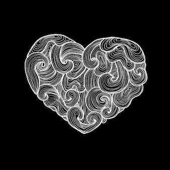 黒の上にハートを落書き。愛のシンボルのラスターイラスト。手描きのスケッチ。