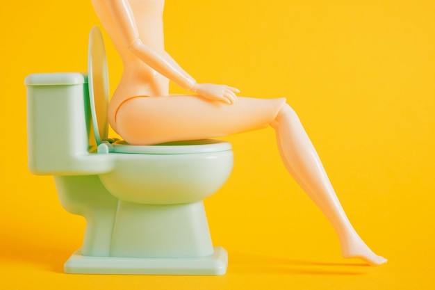 Dool sits on green toy toilet bowl on yellow background