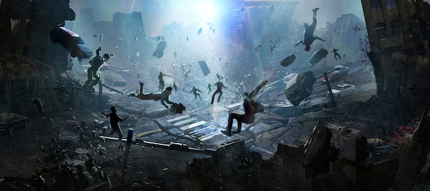 La scena del giorno del giudizio di una catastrofe, illustrazione digitale.