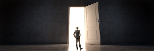 Дверь и дверь бизнесмена в новую возможность 3d рендеринга