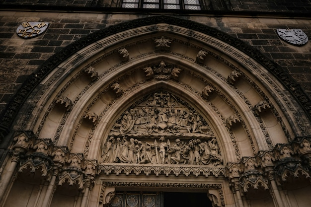 Door of church of st. peter and paul at vysehrad castle, prague, czech republic