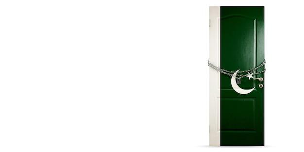 コロナウイルス中のチェーン国の封鎖でパキスタンの旗のロックで着色されたドア