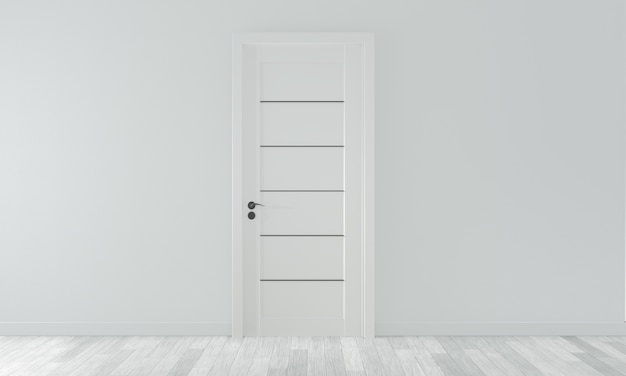 Door on empty room white wall on white wooden floor. 3d rendering