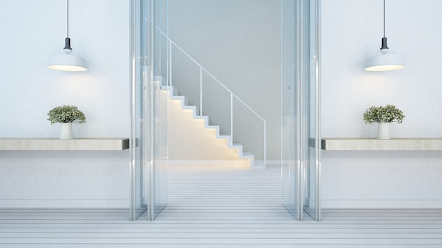 Door entrance and stair in home or apartment - 3d rendering